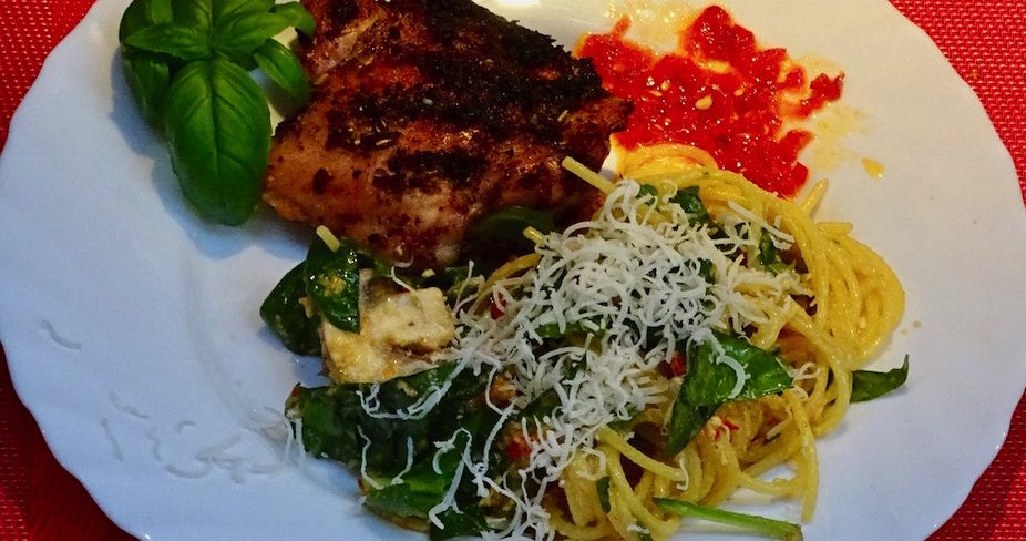 Grilled Basil Chicken & Rustic Pasta