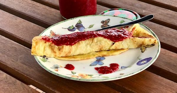 Raspberry Cassava Crepes