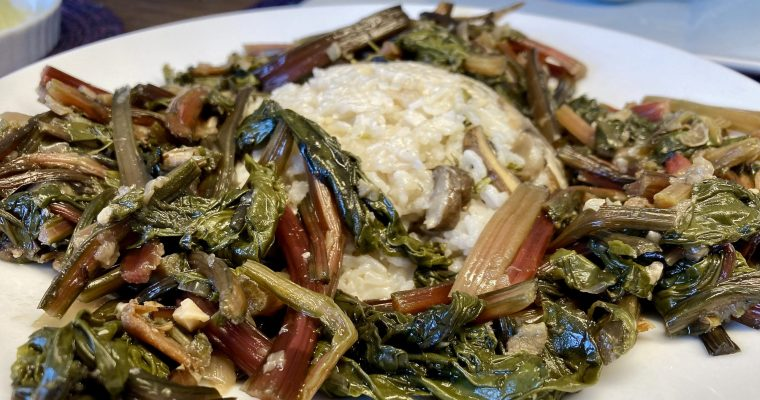 Beet Greens and Coconut Sticky Rice